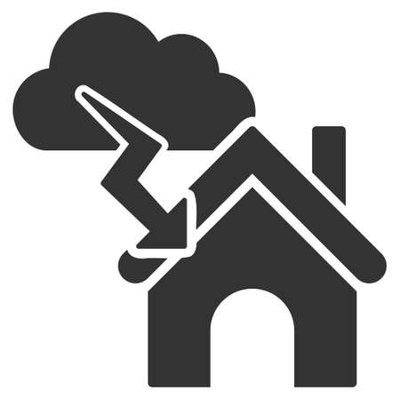 misfortune: Storm Building icon. Vector style is flat iconic symbol, gray color, white background. Illustration