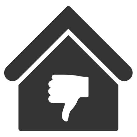 thumb down: Thumb Down Building icon. Vector style is flat iconic symbol, gray color, white background.