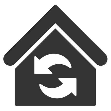 Update-gebouw icoon. Vector stijl is plat iconisch symbool, grijze kleur, witte achtergrond.