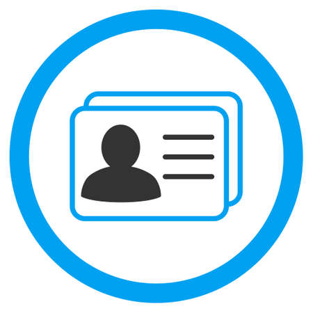Account Cards rounded icon. Vector illustration style is flat iconic bicolor symbol, blue and gray colors, white background. Illustration