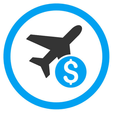 Airplane Price rounded icon. Vector illustration style is flat iconic bicolor symbol, blue and gray colors, white background.