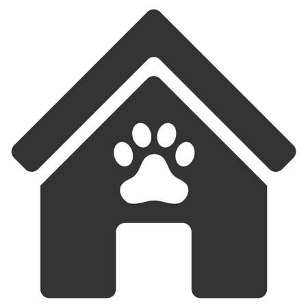 doghouse: Doghouse icon. Glyph style is flat iconic symbol, gray color, white background.