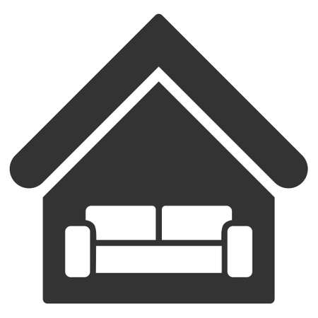 interrior: House Interrior icon. Glyph style is flat iconic symbol, gray color, white background.
