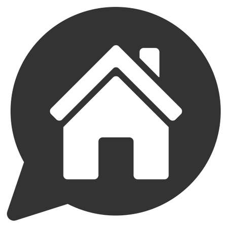 Mention: House Mention icon. Glyph style is flat iconic symbol, gray color, white background.