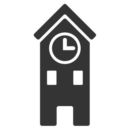 clock tower: Clock Tower icon. Vector style is flat iconic symbol, gray color, white background. Illustration
