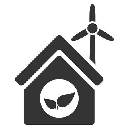 eco icon: Eco House Building icon. Vector style is flat iconic symbol, gray color, white background.