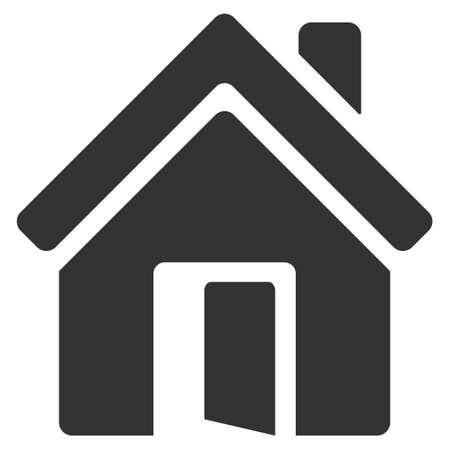 オープンハウス ドアのアイコン。ベクトルはフラット象徴的なシンボル、灰色、白い背景です。
