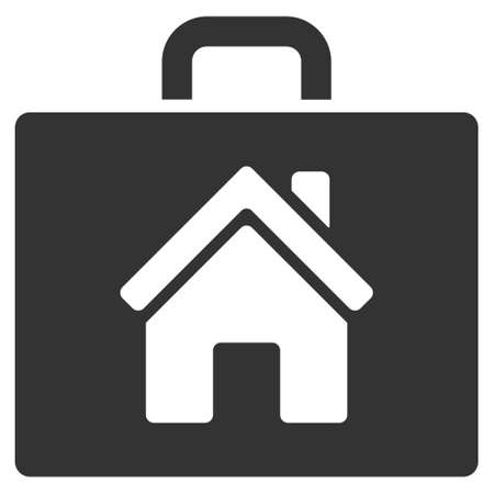 realty: Realty Case icon. Vector style is flat iconic symbol, gray color, white background.