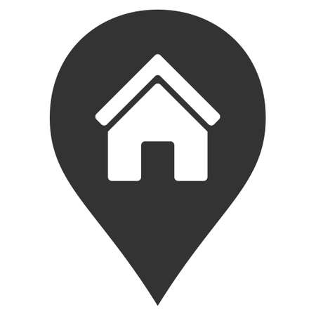 map marker: Realty Map Marker icon. Vector style is flat iconic symbol, gray color, white background.