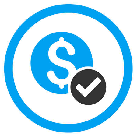 Approved Payment rounded icon. Vector illustration style is flat iconic bicolor symbol, blue and gray colors, white background. Illustration