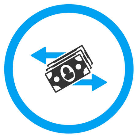 banknotes: Banknotes Payments rounded icon. Vector illustration style is flat iconic bicolor symbol, blue and gray colors, white background.