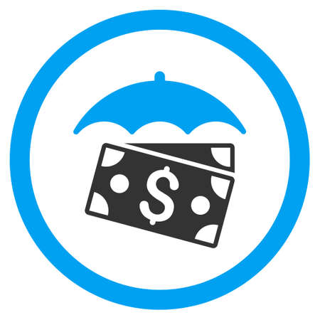 banknotes: Banknotes Umbrella rounded icon. Vector illustration style is flat iconic bicolor symbol, blue and gray colors, white background. Illustration