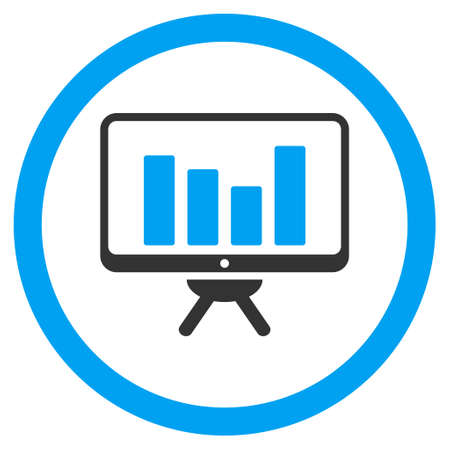 Bar Chart Monitoring rounded icon. Vector illustration style is flat iconic bicolor symbol, blue and gray colors, white background.