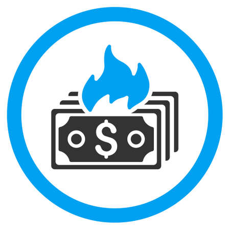 hazard damage: Burn Banknotes rounded icon. Vector illustration style is flat iconic bicolor symbol, blue and gray colors, white background. Illustration