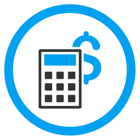adder: Business Calculator rounded icon. Vector illustration style is flat iconic bicolor symbol, blue and gray colors, white background.