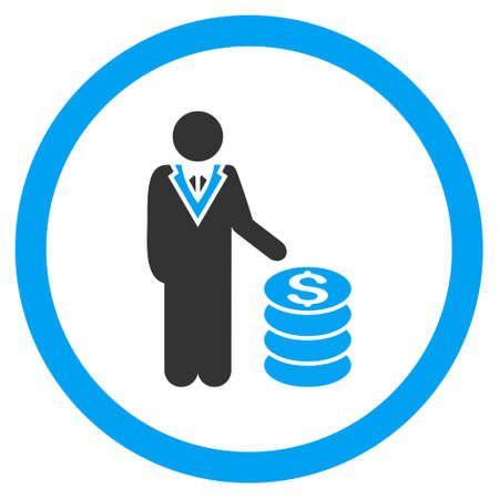 stockbroker: Businessman rounded icon. Vector illustration style is flat iconic bicolor symbol, blue and gray colors, white background.