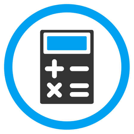 estimation: Calculator rounded icon. Vector illustration style is flat iconic bicolor symbol, blue and gray colors, white background.