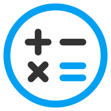 Calculator rounded icon. Vector illustration style is flat iconic bicolor symbol, blue and gray colors, white background.