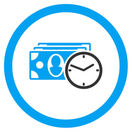 timed: Cash Credit rounded icon. Vector illustration style is flat iconic bicolor symbol, blue and gray colors, white background.