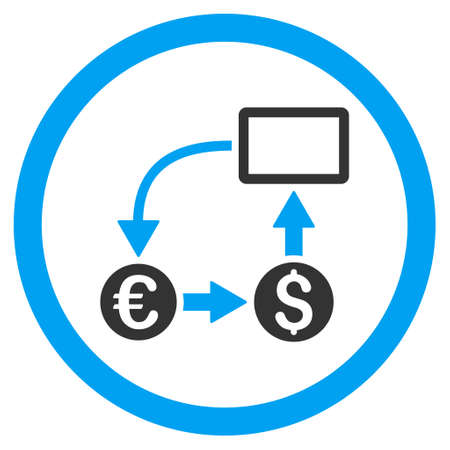 cashflow: Cashflow Euro Exchange rounded icon. Vector illustration style is flat iconic bicolor symbol, blue and gray colors, white background.