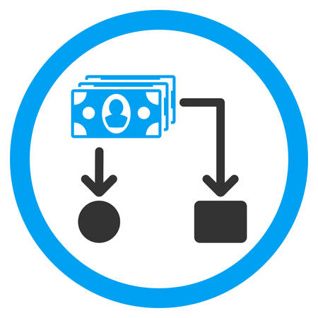 cashflow: Cashflow rounded icon. Vector illustration style is flat iconic bicolor symbol, blue and gray colors, white background. Illustration
