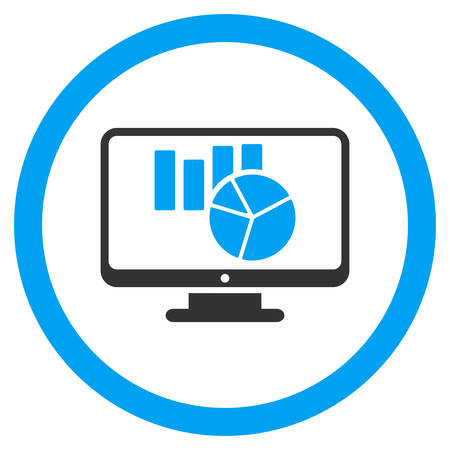 computer data: Charts Monitoring rounded icon. Vector illustration style is flat iconic bicolor symbol, blue and gray colors, white background.