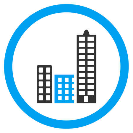 megalopolis: City rounded icon. Vector illustration style is flat iconic bicolor symbol, blue and gray colors, white background.