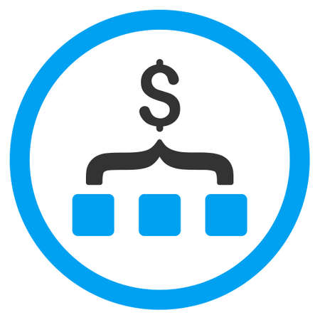 merge together: Collect Money rounded icon. Vector illustration style is flat iconic bicolor symbol, blue and gray colors, white background. Illustration