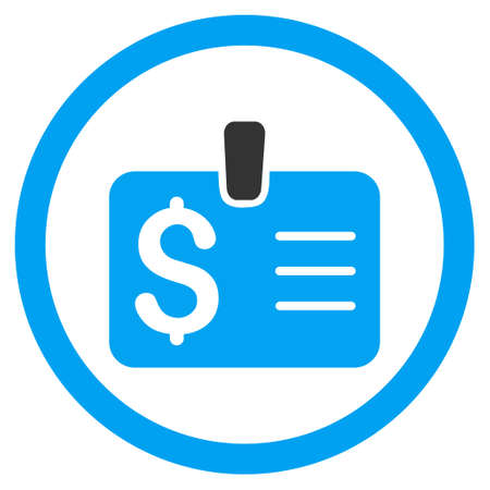 allowed to pass: Dollar Badge rounded icon. Vector illustration style is flat iconic bicolor symbol, blue and gray colors, white background.