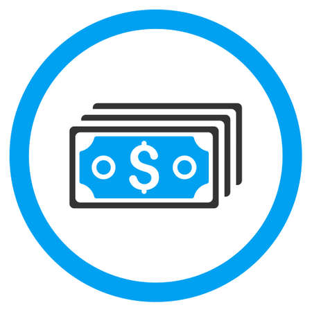 banknotes: Dollar Banknotes rounded icon. Vector illustration style is flat iconic bicolor symbol, blue and gray colors, white background.