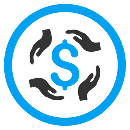 Dollar Care Hands rounded icon. Vector illustration style is flat iconic bicolor symbol, blue and gray colors, white background.