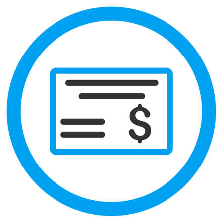 Dollar Cheque rounded icon. Vector illustration style is flat iconic bicolor symbol, blue and gray colors, white background. Ilustração