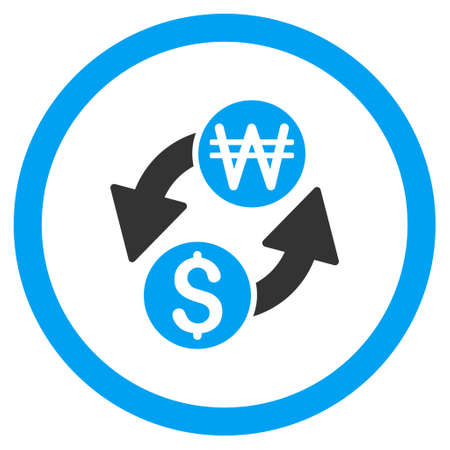 won: Dollar Korean Won Exchange rounded icon. Vector illustration style is flat iconic bicolor symbol, blue and gray colors, white background. Illustration