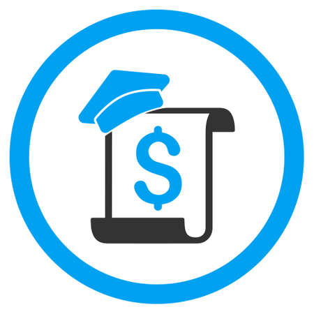 Education Invoice rounded icon. Vector illustration style is flat iconic bicolor symbol, blue and gray colors, white background.