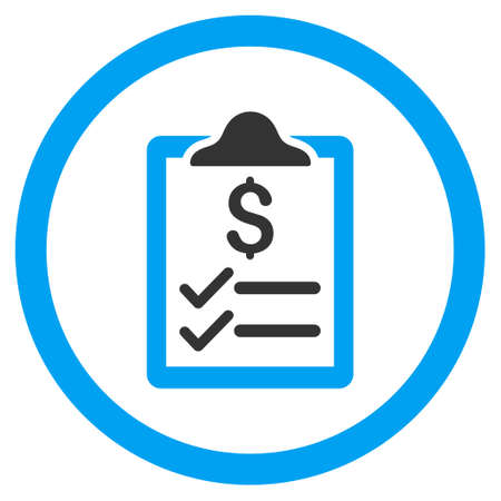 Invoice Pad rounded icon. Vector illustration style is flat iconic bicolor symbol, blue and gray colors, white background.