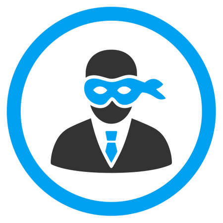 Masked Thief rounded icon. Vector illustration style is flat iconic bicolor symbol, blue and gray colors, white background. Illustration