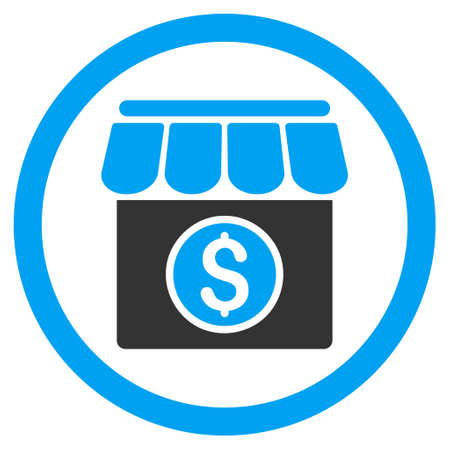 Market rounded icon. Vector illustration style is flat iconic bicolor symbol, blue and gray colors, white background. Çizim