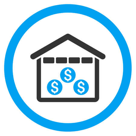 depository: Money Depository rounded icon. Vector illustration style is flat iconic bicolor symbol, blue and gray colors, white background.