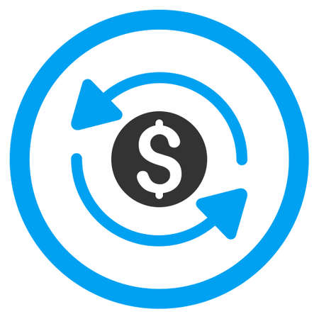 Money Turnover rounded icon. Vector illustration style is flat iconic bicolor symbol, blue and gray colors, white background.