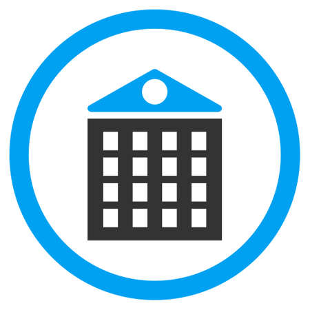 storey: Multi-Storey House rounded icon. Vector illustration style is flat iconic bicolor symbol, blue and gray colors, white background.