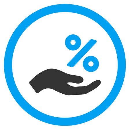 Percent Offer Hand rounded icon. Vector illustration style is flat iconic bicolor symbol, blue and gray colors, white background.