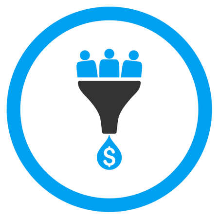 Sales Funnel rounded icon. Vector illustration style is flat iconic bicolor symbol, blue and gray colors, white background. Illustration