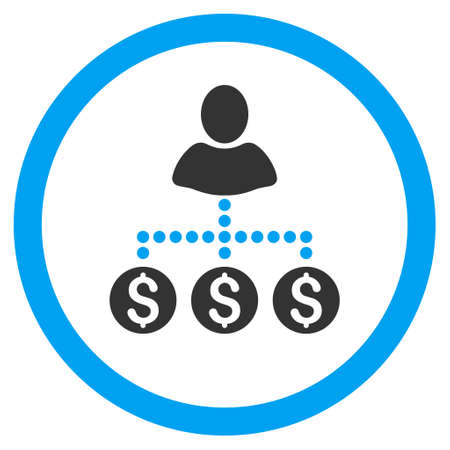 User Payments rounded icon. Vector illustration style is flat iconic bicolor symbol, blue and gray colors, white background.