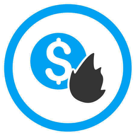money to burn: Burn Money rounded icon. Glyph illustration style is flat iconic bicolor symbol, blue and gray colors, white background. Stock Photo