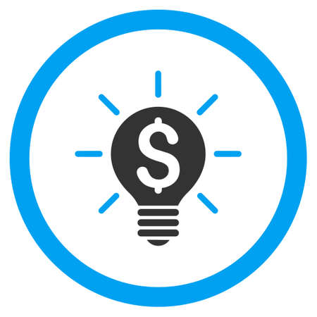 trademark: Business Idea Bulb rounded icon. Glyph illustration style is flat iconic bicolor symbol, blue and gray colors, white background.
