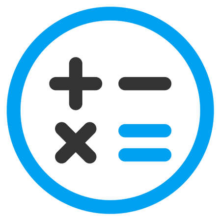 estimation: Calculator rounded icon. Glyph illustration style is flat iconic bicolor symbol, blue and gray colors, white background. Stock Photo