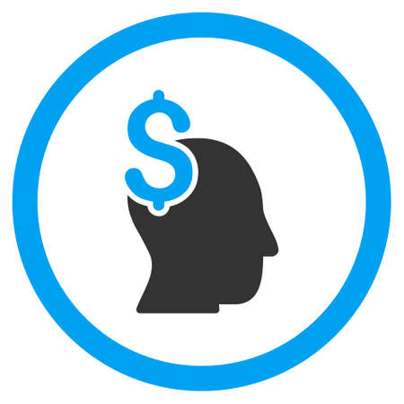 intellect: Commercial Intellect rounded icon. Glyph illustration style is flat iconic bicolor symbol, blue and gray colors, white background.