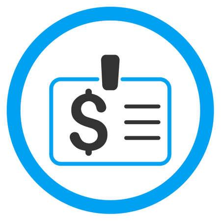 chequera: Insignia del dólar redondeado icono. estilo de ilustración glifo es el símbolo plano bicolor icónico, colores azul y gris, fondo blanco. Foto de archivo