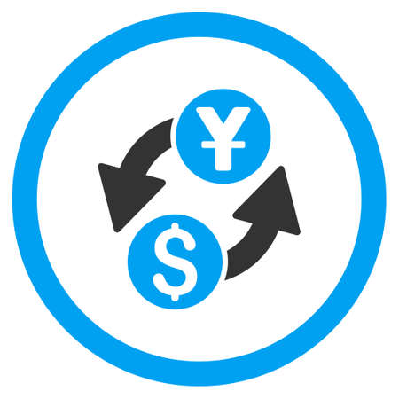 Dollar Yuan Exchange rounded icon. Glyph illustration style is flat iconic bicolor symbol, blue and gray colors, white background.
