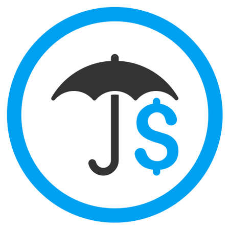 Financial Umbrella rounded icon. Glyph illustration style is flat iconic bicolor symbol, blue and gray colors, white background.